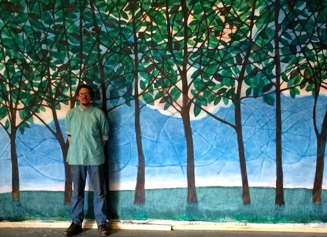 "Donald Saaf with his curtain, ""Summer"""